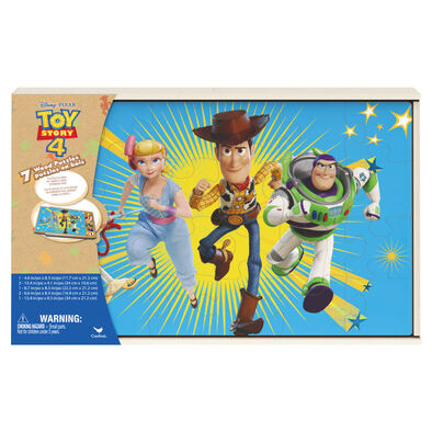Toy Story 4 7pk Wood Puzzles in Shrink Wrapped Wood Tray