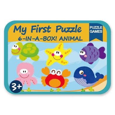 Acme世一 海洋動物(鐵盒木製拼圖)