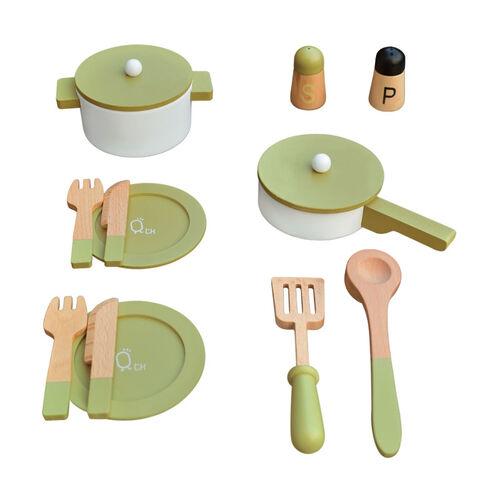 Teamson 法蘭克福木製玩具廚房餐具組-綠色 (贈品)