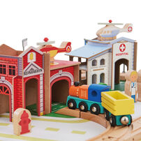 Teamson 幼兒遊樂園85件火車及桌子玩具組