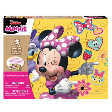 Minnie 5pk Wood Puzzles in Shrink Wrapped Wood Tray