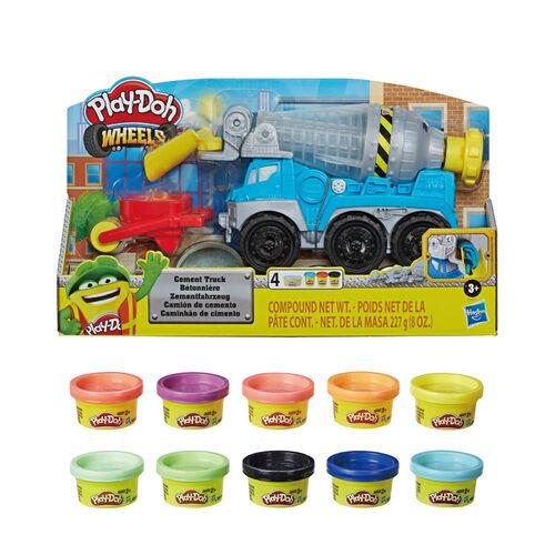 Play-doh培樂多 水泥車遊戲組+培樂多10罐派隊組超值組合